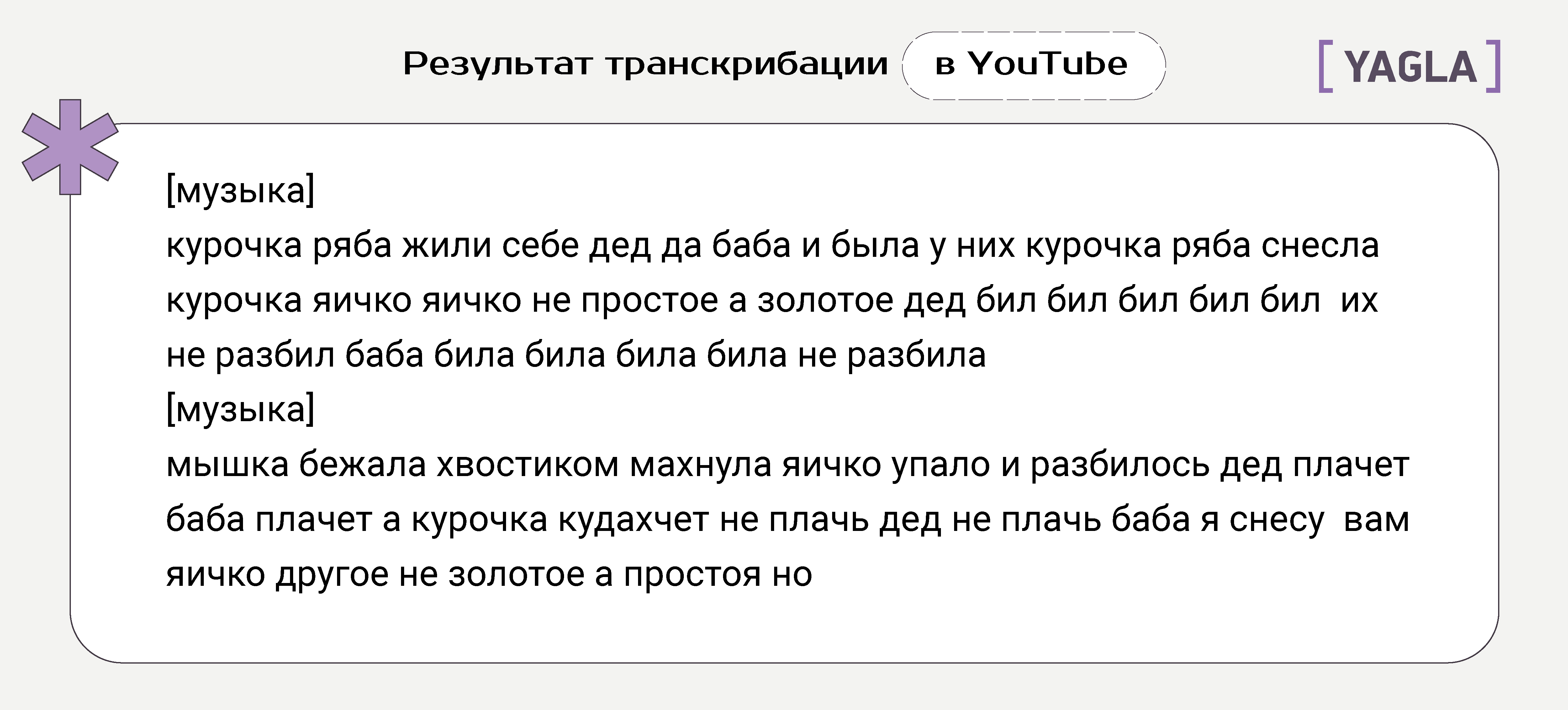 Результат транскрибации в YouTube
