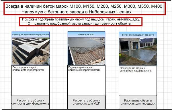 Создание ценностных предложений – второй экран страницы по бетону