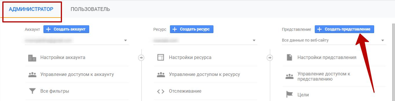 Google Analytics – кнопка создания представления