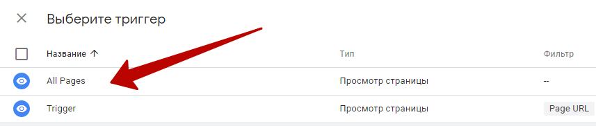 Google Analytics – тип триггера
