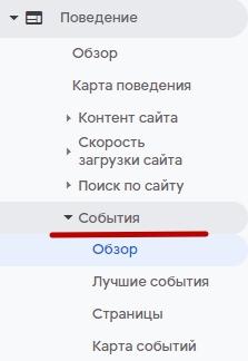 Google Analytics – отчеты по событиям