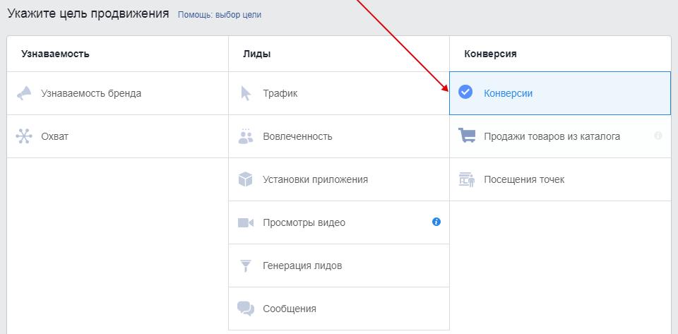 Пиксель Facebook — создание рекламы с целью конверсии