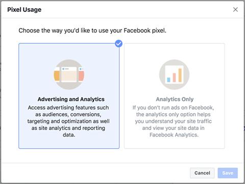 Пиксель Facebook — выбор настройки использования пикселя