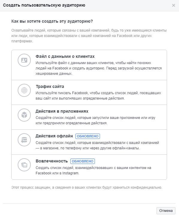 Пользовательские аудитории — выбор индивидуализированной аудитории