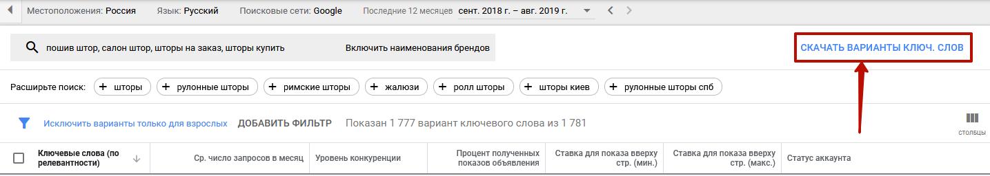 Планировщик ключевых слов Google Ads – кнопка скачивания