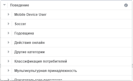Виды таргетинга в Facebook — категории поведения