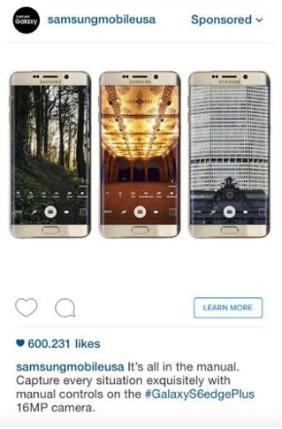 Как настроить рекламу в Instagram – реклама Samsung