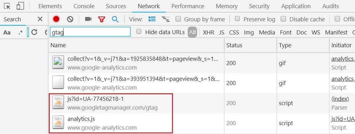 Установка кода Google Analytics — подгружаемые скрипты в консоли разработчика