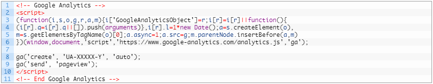 Установка кода Google Analytics — стандартный код analytics.js