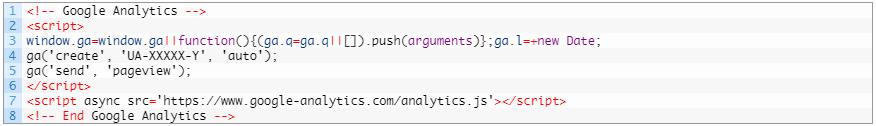Установка кода Google Analytics — альтернативный асинхронный код analytics.js