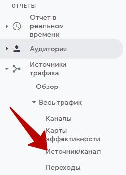 Отчеты Google Analytics – переход в отчет Источник-канал