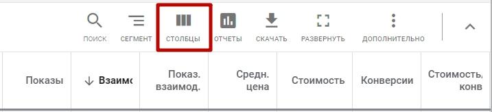 Продвинутая аналитика Google Ads – кнопка изменения столбцов