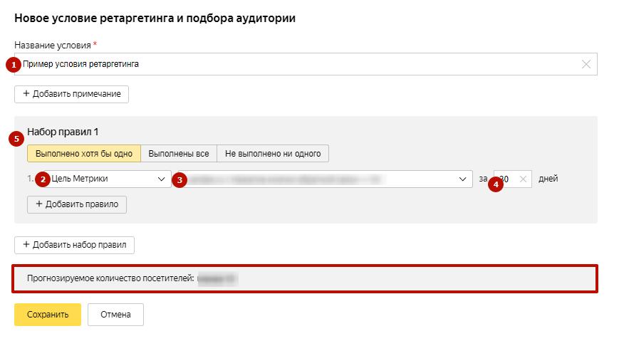 Ретаргетинг в Яндекс Директ – настройка условия ретаргетинга по цели