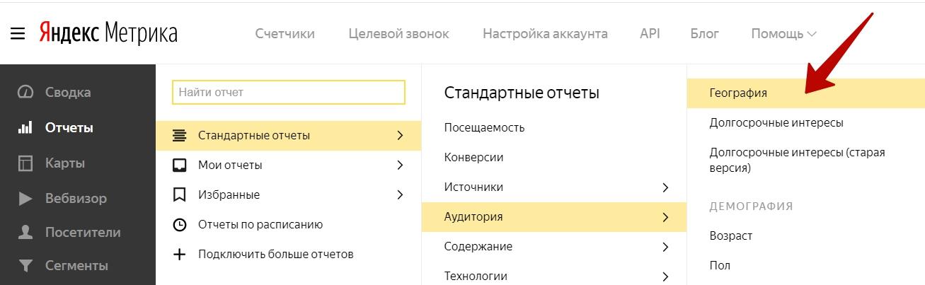 Сегменты Яндекс.Метрики – отчет География