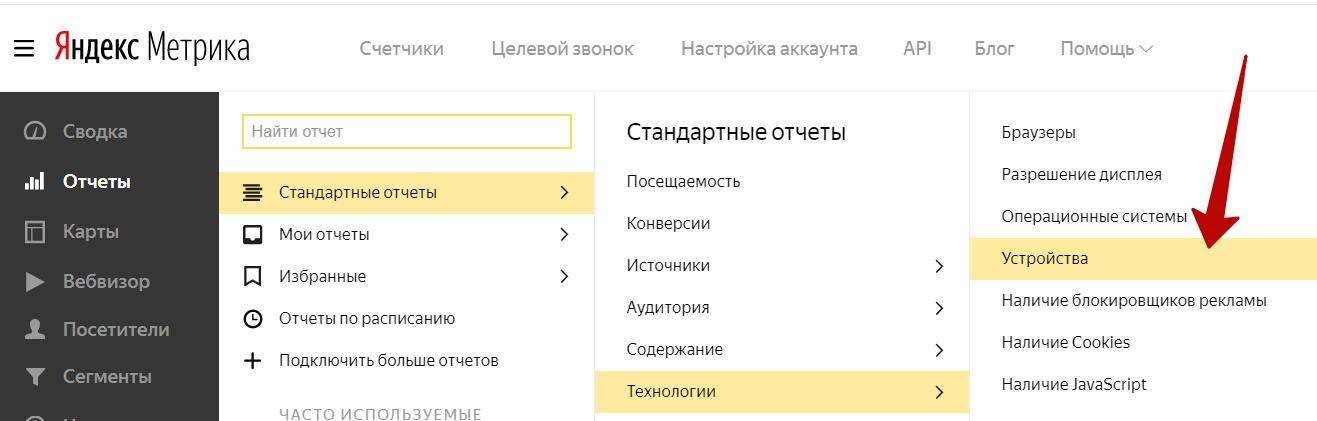 Сегменты Яндекс.Метрики – отчет Устройства.png
