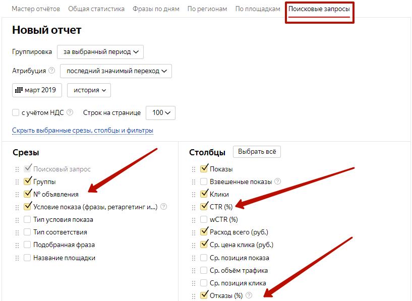 Аудит рекламной кампании Яндекс.Директ – построение отчета по поисковым запросам