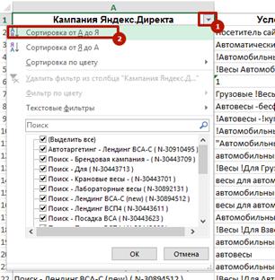 Аудит рекламной кампании Яндекс.Директ – выбор данных по конкретной кампании
