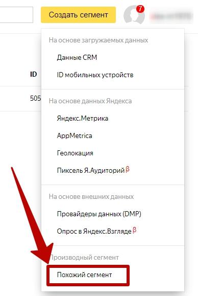 Яндекс Аудитории – производный сегмент