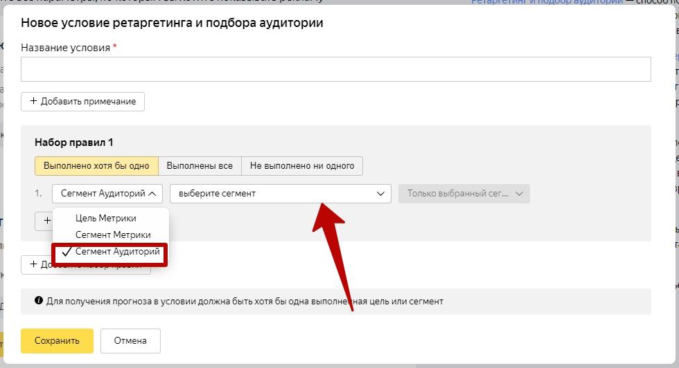 Яндекс Аудитории – условие подбора аудитории