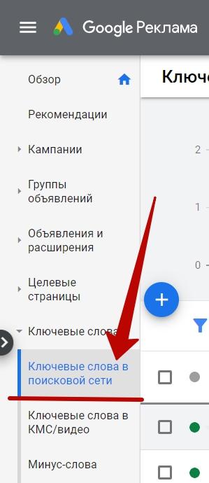 Анализ Google Ads – переход к отчету по ключевым словам