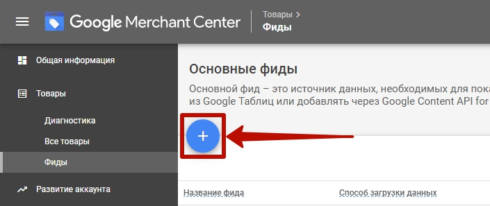 Фиды Яндекс и Google – добавление фида в Google Merchant Center