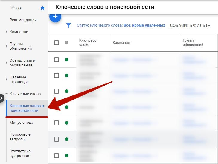Мобильная реклама Google Ads – добавление ключевых слов для поисковой кампании