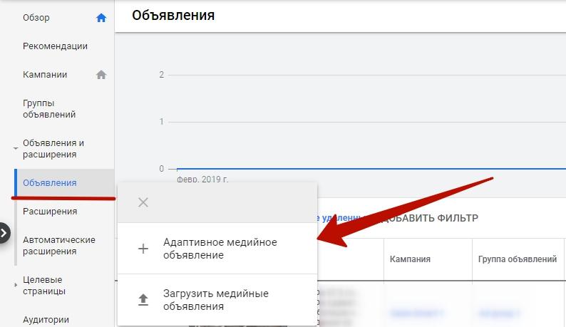 Мобильная реклама Google Ads – кнопка создания объявления для рекламы в КМС