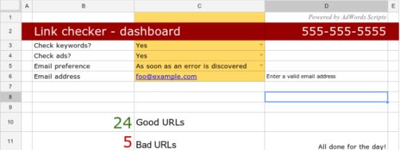 Скрипты Google AdWords — таблица для скрипта проверки ссылок