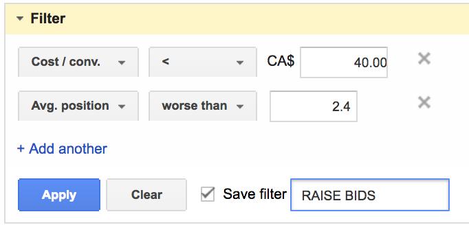 Скрипты Google AdWords — фильтр для повышения ставок