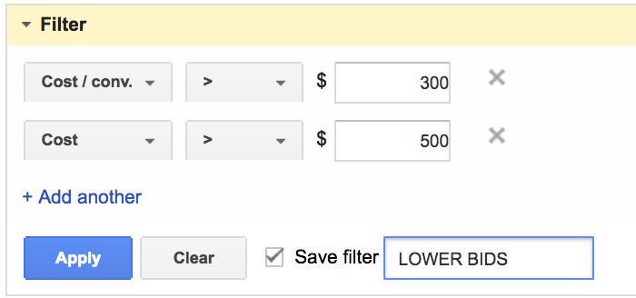 Скрипты Google AdWords — фильтр для понижения ставок