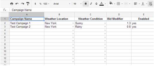 Скрипты Google AdWords — таблица для скрипта корректировок по погодным условиям