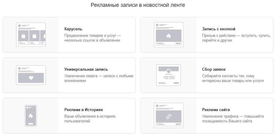 Как настроить рекламу ВКонтакте – форматы в ленте новостей