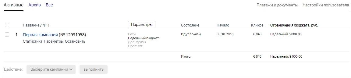 Информация по кампаниям в старом интерфейсе Яндекс.Директ