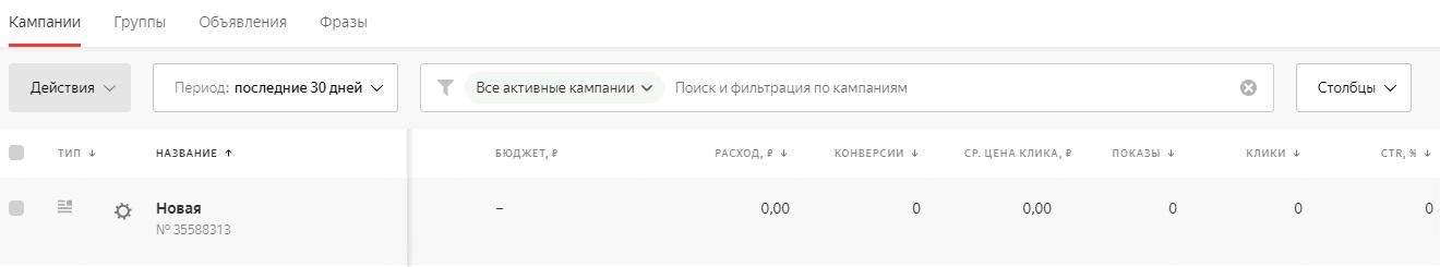 Информация по кампаниям в новом интерфейсе Яндекс.Директ
