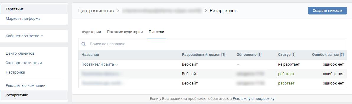 Ретаргетинг ВКонтакте — отслеживание статуса пикселя