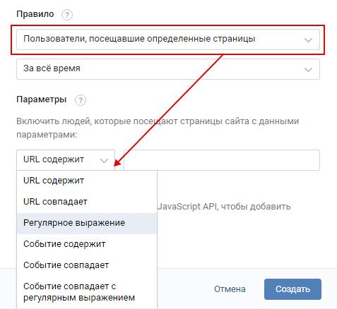 Ретаргетинг ВКонтакте — настройка правила по посещению страниц