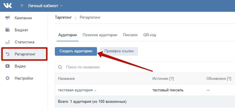 Ретаргетинг ВКонтакте – создание аудитории