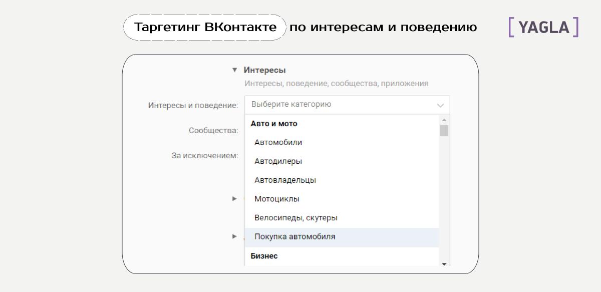 Таргет ВКонтакте: выбор категории по интересам и поведению