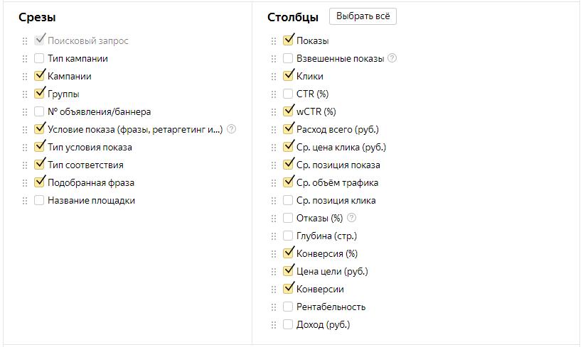 Анализ и оптимизация Яндекс.Директ — срезы и столбцы для отчета по поисковым запросам