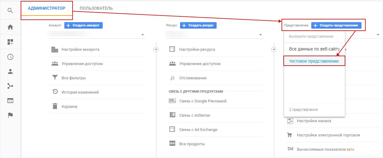 Электронная торговля Google Analytics — выбор представления