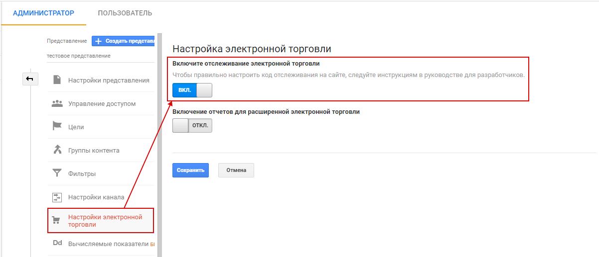 Электронная торговля Google Analytics — включение отслеживания
