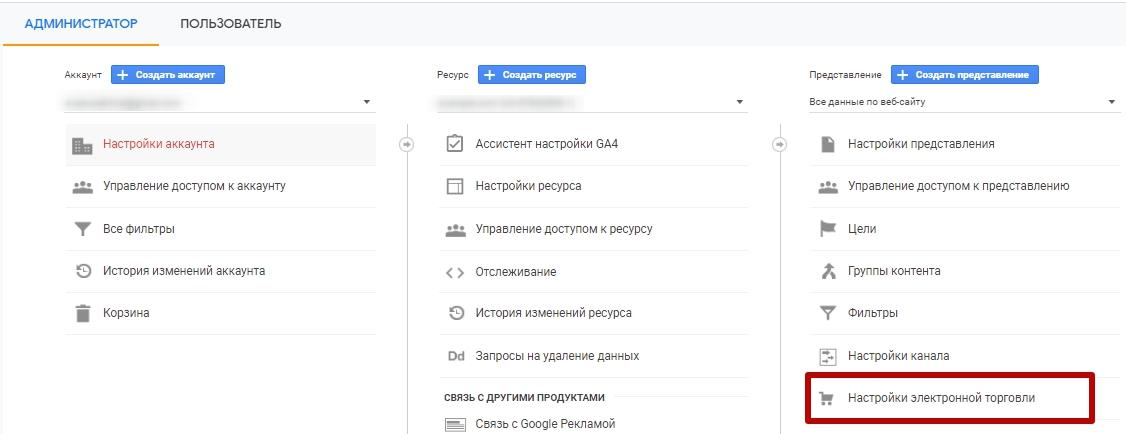 Электронная торговля Google Analytics – переход к настройкам
