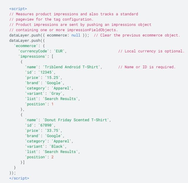 Электронная торговля Google Analytics – пример кода с уровнем данных