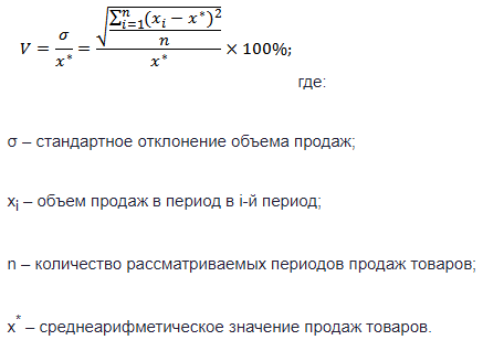 ABC и XYZ анализ — формула коэффициента вариации продаж