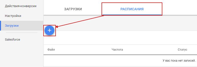 Офлайн-конверсии — добавление расписания загрузки в Google Analytics