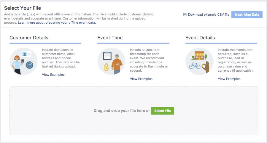 Офлайн-конверсии — выбор файла для загрузки в Facebook