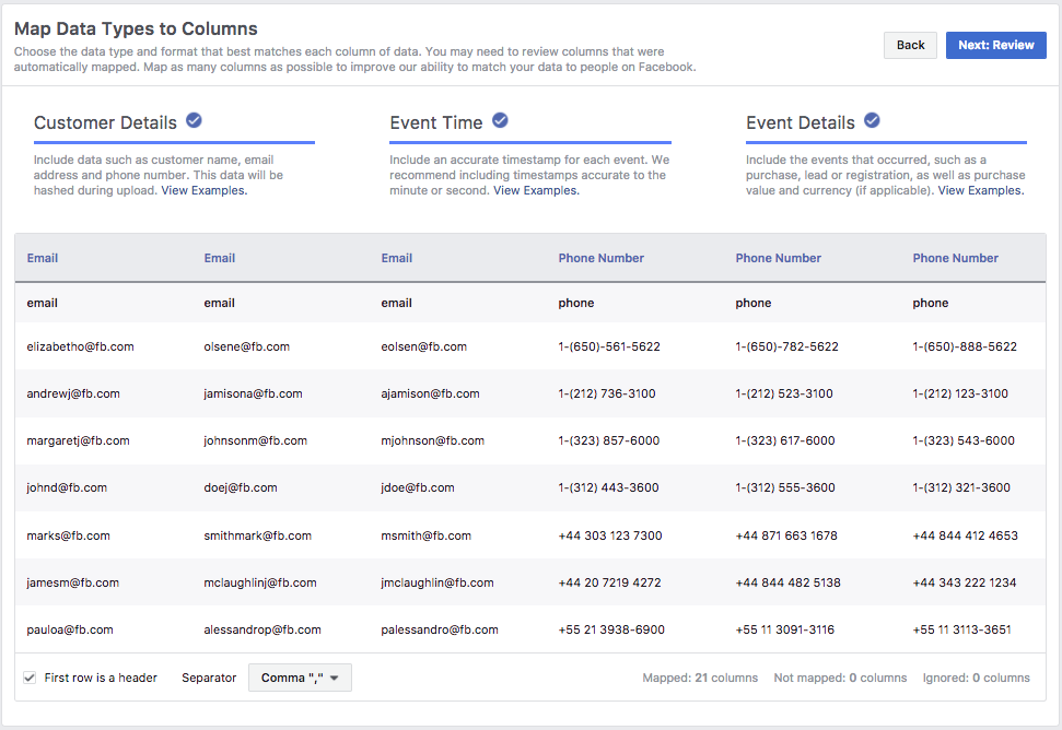 Офлайн-конверсии — сопоставление данных в Facebook