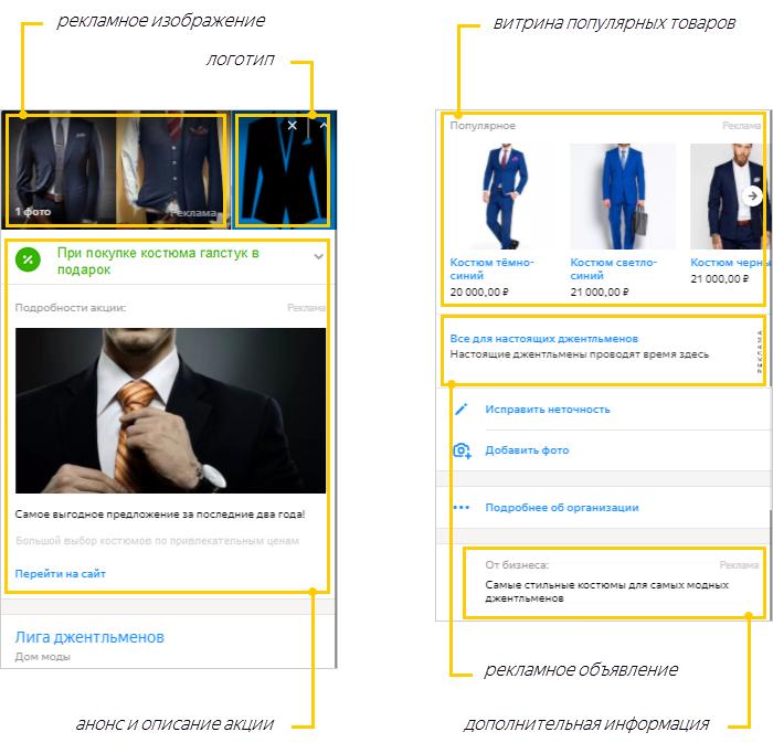 Геореклама в Яндексе — пример расширенной карточки организации