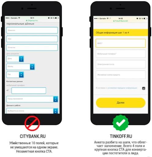 Мобильный трафик — длинные формы захвата и невнятный CTA
