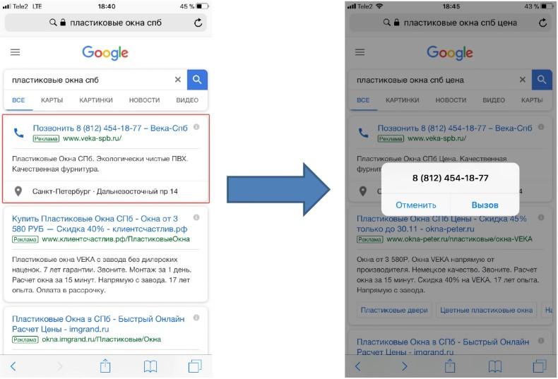 Мобильный трафик — формат «Только номер телефона» в Google Рекламе